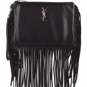 YSL Monogram Leather Fringe Wristlet